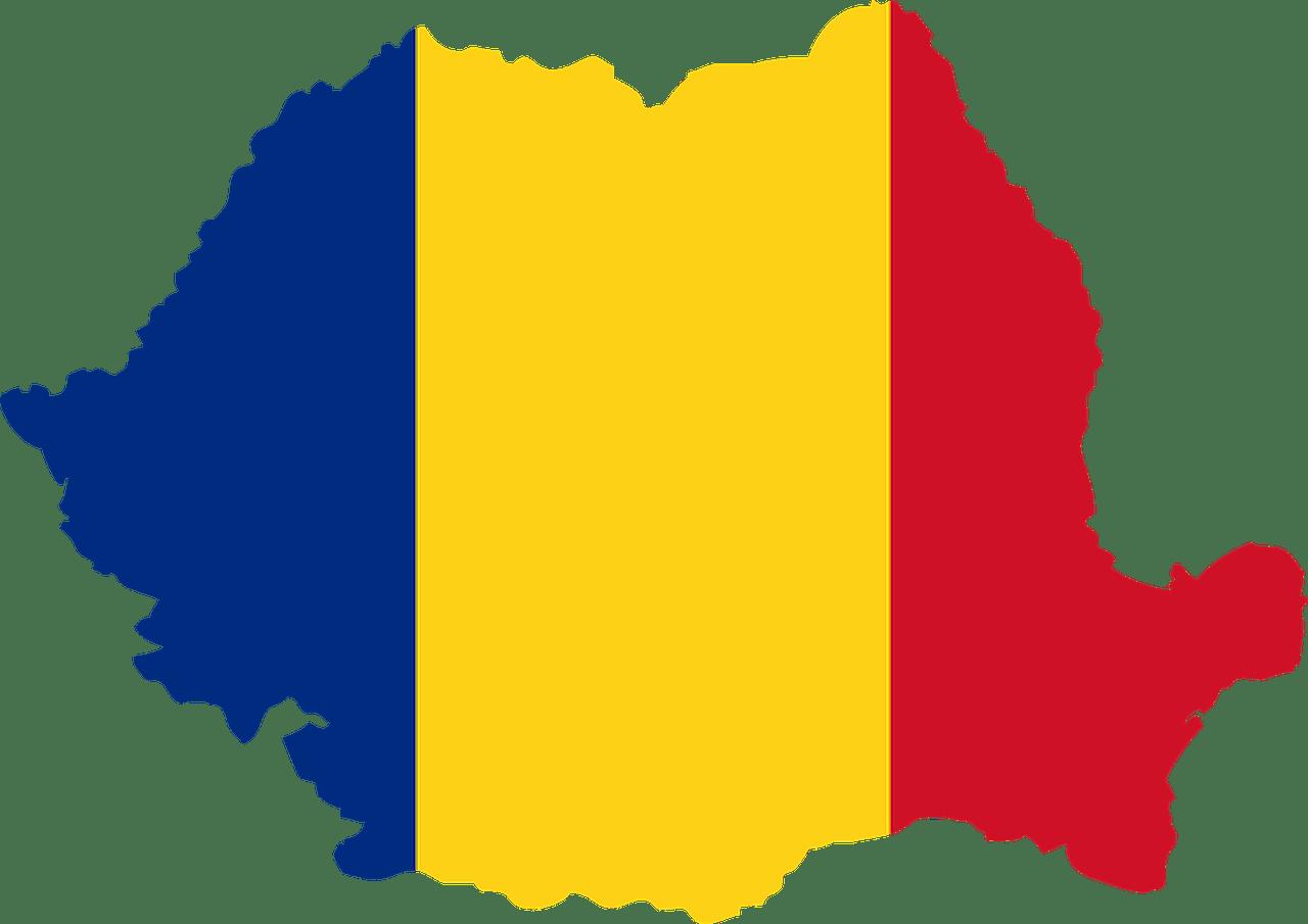 Mappa della Romania colorata (da sinistra verso destra) di blu, giallo e rosso, come la bandiera della Romania