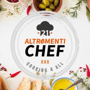 Logo di AltrementiChef al centro, cincondato da pasta secca, verdura, formaggio e spezie.